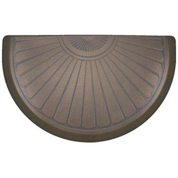 "WellnessMats Studio Semi Sunburst Collection 36"" x 22"" Anti-Fatigue Floor Mat in Oasis with Blue on Tan Base, 36"" W x 22"" D x 3/4"" Thick"