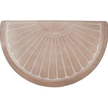 "WellnessMats Studio Semi Sunburst Collection 36"" x 22"" Anti-Fatigue Floor Mat in Sand Dollar with White on Tan Base, 36"" W x 22"" D x 3/4"" Thick"