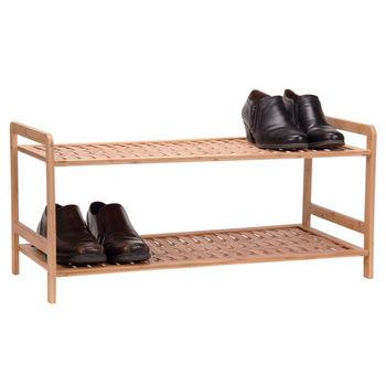 Household Essentials Wood 2 Tier Shoe Rack/Basketweave in Bamboo