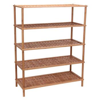 Household Essentials Wood 5 Tier Shoe Rack/Basketweave in Bamboo
