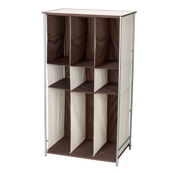 Household Essentials Freestanding Boot Organizer With Metal Frame And Fabric Cubbies in Natural/Brown