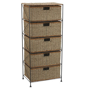 Household Essentials 5 Drawer Unit in Seagrass/Rattan