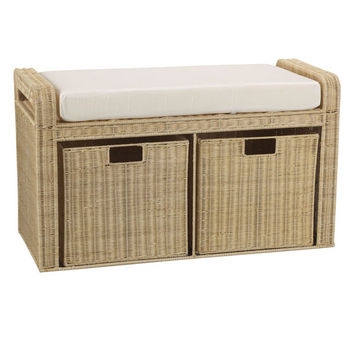 Household Essentials Storage Bench W/ Cushioned Seat And Storage in Natural Rattan