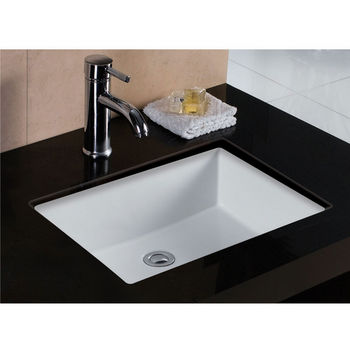 wells sinkware rhythm series white china undermount bathroom sink 19 12w x 15 12d x 7 34h - Bathroom Undermount Sinks
