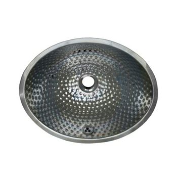 Whitehaus Oval Hammered Textured Metal Undermount Bathroom Basin In Polished Stainless Steel