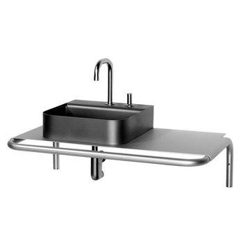 Whitehaus Aeri Single Shelf Wall Mount Aluminum Bathroom Vanity With Towel  Bar