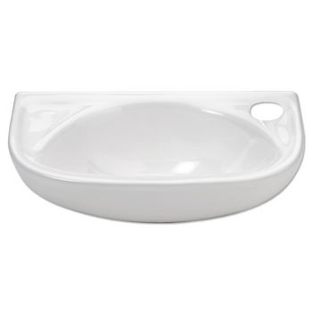 Whitehaus Small Wall Mounted China Bath Basin with Single Faucet Hole on Right Side