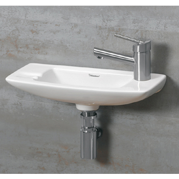 Whitehaus Wall Mounted China Bath Basin with Side Shelf Space