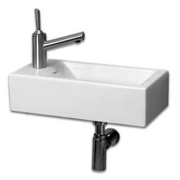 Whitehaus - Wall Mount Bathroom Sink w/Towel Bar, Faucet Drilling on Left