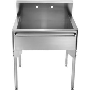 Whitehaus Pearlhaus Brushed Stainless Steel Double Bowl Commercial Freestanding  Utility Sink, Brushed Stainless Steel.