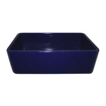 Whitehaus Farmhaus Fireclay Sink with Smooth Front Apron, Sapphire Blue