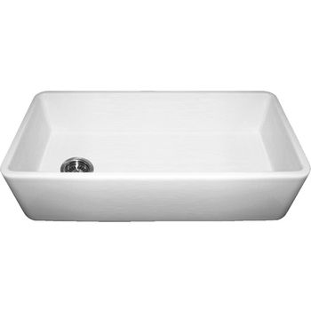 Whitehaus Farmhaus Fireclay Sink with Smooth Front Apron, White