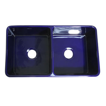 Whitehaus Double Bowl Farmhaus Fireclay Sink, Sapphire Blue
