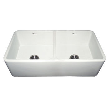 Whitehaus Double Bowl Farmhaus Fireclay Sink, White