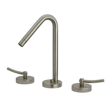 Whitehaus Metrohaus Lavatory Widespread Faucet with 45º Swivel Spout, Brushed Nickel