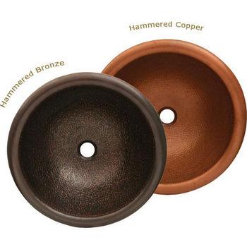 "Whitehaus Copperhaus Collection Round Prep Sink, 16½"" Dia. x 6¼""H"