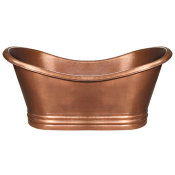 """Whitehaus Bathhaus Collection Handmade Copper Double Ended Freestanding Bathtub with Hammered Exterior, Lightly Hammered Interior and No Overflow in Hammered Copper, 71"""" W x 32"""" D x 33"""" H"""