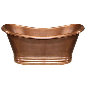 "Whitehaus Bathhaus Collection Handmade Copper Double Ended Freestanding Bathtub with Smooth Exterior, Hammered Interior and No Overflow in Hammered Copper, 68"" W x 30"" D x 31-1/2"" H"