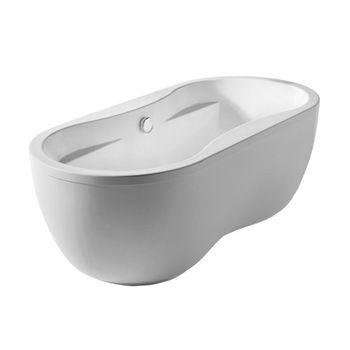 "Whitehaus Bathhaus Collection Oval Double Ended Dual Armrest Freestanding Bathtub with Chrome Mechanical Pop-Up Waste and Chrome Center Drain with Internal Overflow in White, 67"" W x 31-1/2"" D x 22-7/8"" H"