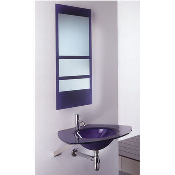 Whitehaus Wall Mounted Trapezoidal Shaped Unit with Round Integrated Sink in Violet Glass