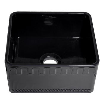 "Whitehaus Reversible Series Fireclay Sink with Athinahaus Front Apron, Black, 20""W x 18""D x 10""H"