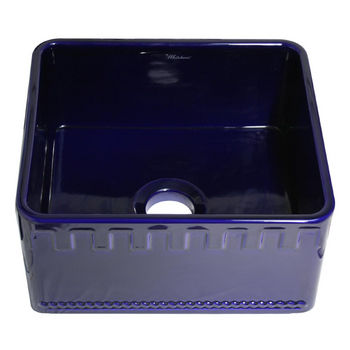 "Whitehaus Reversible Series Fireclay Sink with Athinahaus Front Apron, Sapphire Blue, 20""W x 18""D x 10""H"