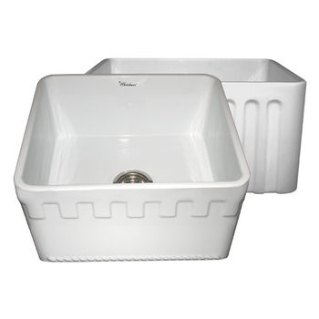 "Whitehaus Reversible Series Fireclay Sink with Athinahaus Front Apron, White, 20""W x 18""D x 10""H"