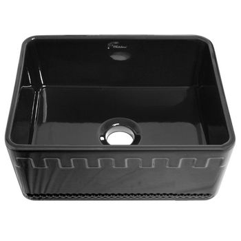 "Whitehaus Reversible Series Fireclay Sink with Athinahaus Front Apron, Black, 24""W x 18""D x 10""H"