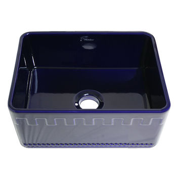 "Whitehaus Reversible Series Fireclay Sink with Athinahaus Front Apron, Sapphire Blue, 24""W x 18""D x 10""H"