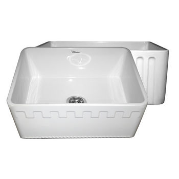 "Whitehaus Reversible Series Fireclay Sink with Athinahaus Front Apron, White, 24""W x 18""D x 10""H"