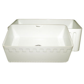 "Whitehaus Reversible Series Fireclay Sink with Athinahaus Front Apron, Biscuit, 30""W x 18""D x 10""H"