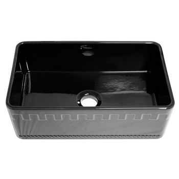 "Whitehaus Reversible Series Fireclay Sink with Athinahaus Front Apron, Black, 30""W x 18""D x 10""H"