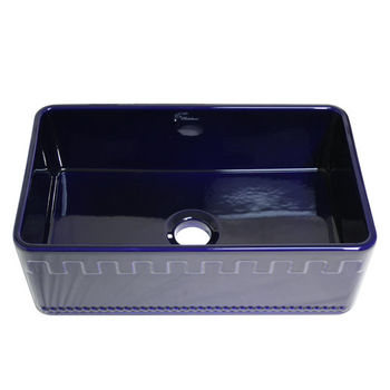 "Whitehaus Reversible Series Fireclay Sink with Athinahaus Front Apron, Sapphire Blue, 30""W x 18""D x 10""H"