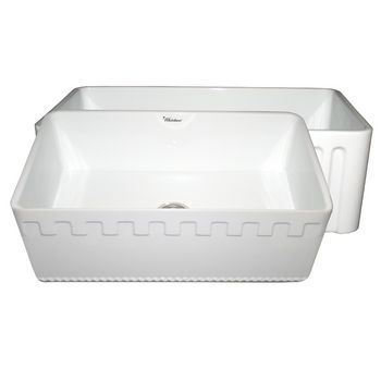 "Whitehaus Reversible Series Fireclay Sink with Athinahaus Front Apron, White, 30""W x 18""D x 10""H"