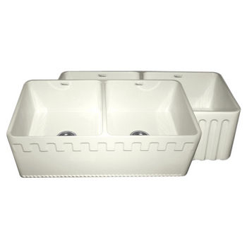 "Whitehaus Reversible Series Double Bowl Fireclay Sink with Athinahaus Front Apron, Biscuit, 33""W x 18""D x 10""H"