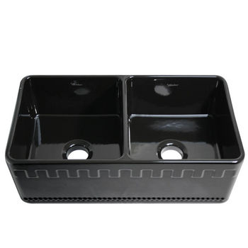 "Whitehaus Reversible Series Double Bowl Fireclay Sink with Athinahaus Front Apron, Black, 33""W x 18""D x 10""H"