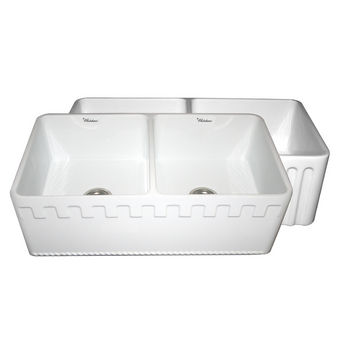 "Whitehaus Reversible Series Double Bowl Fireclay Sink with Athinahaus Front Apron, White, 33""W x 18""D x 10""H"
