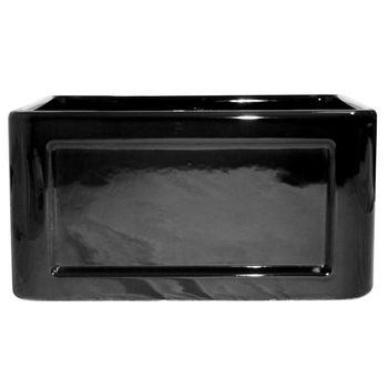 "Whitehaus Reversible Series Fireclay Sink with Concave Front Apron, Black, 20""W x 18""D x 10""H"