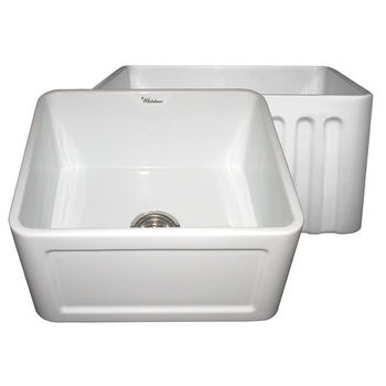 "Whitehaus Reversible Series Fireclay Sink with Concave Front Apron, White, 20""W x 18""D x 10""H"