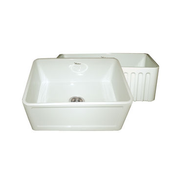 "Whitehaus Reversible Series Fireclay Sink with Concave Front Apron, Biscuit, 24""W x 18""D x 10""H"
