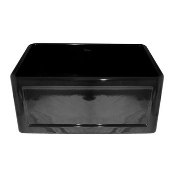 "Whitehaus Reversible Series Fireclay Sink with Concave Front Apron, Black, 24""W x 18""D x 10""H"