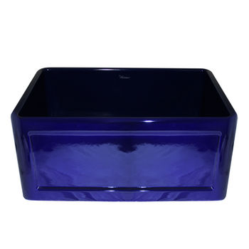 "Whitehaus Reversible Series Fireclay Sink with Concave Front Apron, Sapphire Blue, 24""W x 18""D x 10""H"