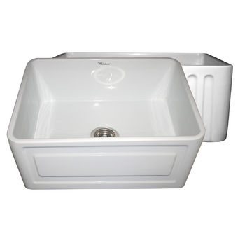 "Whitehaus Reversible Series Fireclay Sink with Concave Front Apron, White, 24""W x 18""D x 10""H"