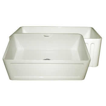 "Whitehaus Reversible Series Fireclay Sink with Concave Front Apron, Biscuit, 30""W x 18""D x 10""H"