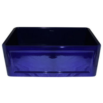 "Whitehaus Reversible Series Fireclay Sink with Concave Front Apron, Sapphire Blue, 30""W x 18""D x 10""H"