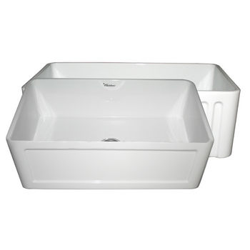 "Whitehaus Reversible Series Fireclay Sink with Concave Front Apron, White, 30""W x 18""D x 10""H"