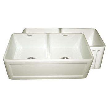 """Whitehaus Reversible Series Double Bowl Fireclay Sink with Concave Front Apron, Biscuit, 33""""W x 18""""D x 10""""H"""