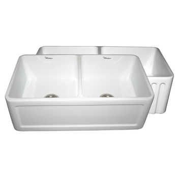 """Whitehaus Reversible Series Double Bowl Fireclay Sink with Concave Front Apron, White, 33""""W x 18""""D x 10""""H"""