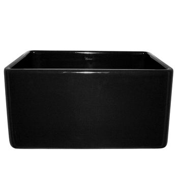 "Whitehaus Reversible Series Fireclay Sink with Smooth Front Apron, Black, 20""W x 18""D x 10""H"
