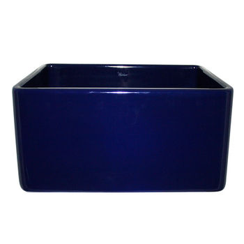 "Whitehaus Reversible Series Fireclay Sink with Smooth Front Apron, Sapphire Blue, 20""W x 18""D x 10""H"